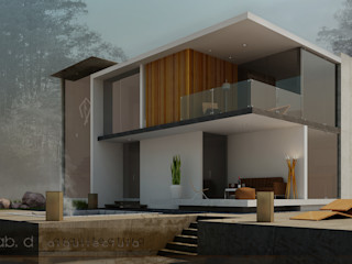lab arquitectura Casas de estilo minimalista Hormigón reforzado Blanco