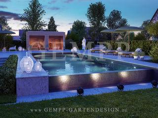 Moderne Gartengestaltung mit Pool, Gartensauna und Designgartenmöbeln GEMPP GARTENDESIGN - Gartenplanung Gartengestaltung Landschaftsbau Moderner Garten