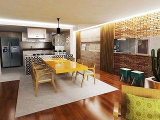 Fabrício Cardoso Arquitetura Modern dining room Wood Multicolored