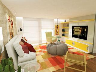 Fabrício Cardoso Arquitetura Modern living room Wood Multicolored