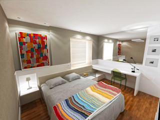Fabrício Cardoso Arquitetura Modern style bedroom Wood Grey