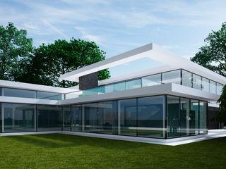 Проект современного дома с панорамным остеклением Way-Project Architecture & Design Дома в стиле минимализм