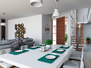 Kiuva arquitectura y diseño Minimalist Yemek Odası Mermer Beyaz