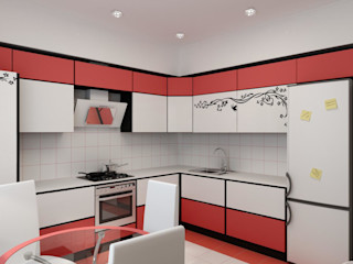 Цунёв_Дизайн. Студия интерьерных решений. Cocinas eclécticas Rojo