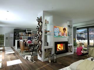 Moradia Unifamiliar T3@Lamego Factor4D - Arquitetura, Consultadoria & Gestão Salas de estar modernas