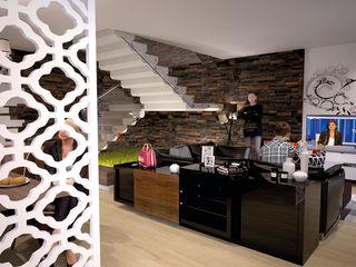 Moradia Unifamiliar T4@Lamego Factor4D - Arquitetura, Consultadoria & Gestão Salas de estar modernas