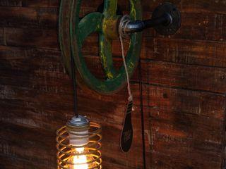 Lamparas Estilo Industrial Polea Foco Vintage Vieja Eddie Lamparas Vintage Vieja Eddie LivingsIluminación Hierro/Acero Verde