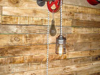 Lamparas Estilo Industrial Polea Foco Vintage Vieja Eddie Lamparas Vintage Vieja Eddie ComedoresIluminación Hierro/Acero Rojo