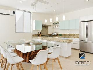 PORTO Arquitectura + Diseño de Interiores Ruang Makan Gaya Mediteran