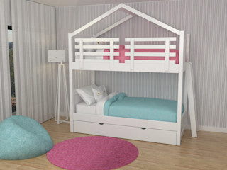 Oficina Rústica Habitaciones infantilesCamas y cunas Madera Blanco