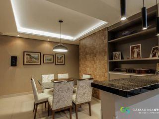 Condomínio Dolce Vitta - sala integrada e dormitórios Camarina Studio Salas de estar modernas