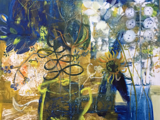 Original artwork - Acrylic on Birch wood Panel Rural Retro ArtworkPictures & paintings Blue
