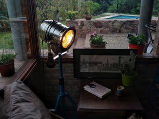 Lampara Tipo Cine Decoración Foco Edison Vieja Eddie Lamparas Vintage Vieja Eddie ComedoresIluminación Hierro/Acero Turquesa