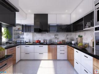 KITCHEN VIZPIXEL STUDIO Built-in kitchens Wood White