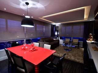 Marcelo John Arquitetura e Interiores Salas de estilo moderno Tablero DM Rojo