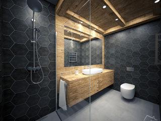 enki design Industrialna łazienka Lite drewno Czarny