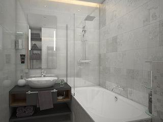 enki design Minimalistyczna łazienka Płytki Szary