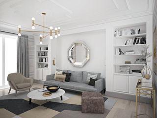 enki design Minimalistyczny salon Beżowy
