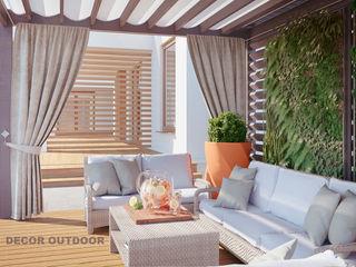 Визуализации уличных штор DECOR OUTDOOR Балкон, веранда и террасаАксессуары и декор Текстиль Серый