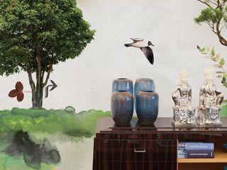 House Frame Wallpaper & Fabrics Oficinas y tiendas de estilo tropical
