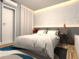 Karen Oliveira - Designer de Interiores 寝室ベッド&ヘッドボード MDF 灰色
