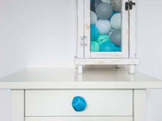 Ceramics handles – Polyhedron - colour turquoise crackle glossy glaze Viola Ceramics Studio ArtworkOther artistic objects Ceramic Blue