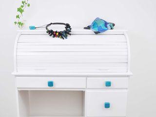 Ceramics handles - Cube - colour turquoise crackle glossy glaze Viola Ceramics Studio 家居用品配件與裝飾品 陶器 Blue
