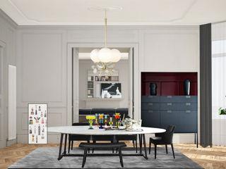 Apartment Renovation Haussmannian Style architetto stefano ghiretti Comedores clásicos Gris