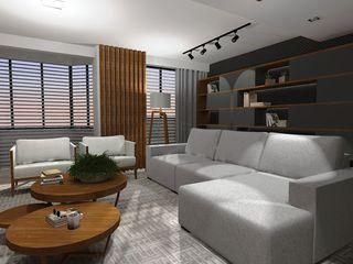 Sala de estar contemporânea e aconchegante Cláudia Legonde Salas de estar modernas Madeira Cinza