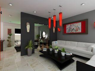 OLLIN ARQUITECTURA Modern Living Room Wood-Plastic Composite Grey
