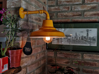 Lampara Galponera Vintage Oro Retro Lamparas Vintage Vieja Eddie LivingsIluminación Hierro/Acero Ámbar/Dorado