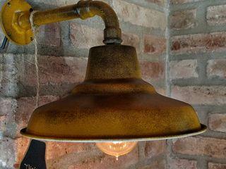 Aplique Lámpara Galponera Oro Envejecido Vintage Lamparas Vintage Vieja Eddie HogarArtículos para el hogar Hierro/Acero Amarillo