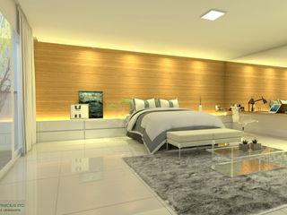ITOARQUITETURA 臥室床與床頭櫃 MDF Amber/Gold