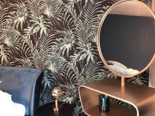 Chambre d'amis tendance actuelle CSInterieur Chambre tropicale Cuivre / Bronze / Laiton Bleu