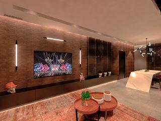 Studio Diego Duracenski Interiores Modern living room Bricks Black