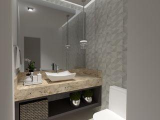 Lavabo sofisticado Cláudia Legonde Banheiros modernos Mármore Efeito de madeira