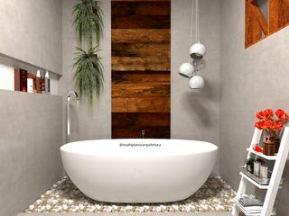 Laene Carvalho Arquitetura e Interiores 現代浴室設計點子、靈感&圖片 木頭 Grey
