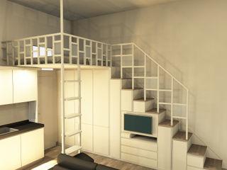 Un monolocale completamente arredato su misura Falegnamerie Design Soggiorno moderno