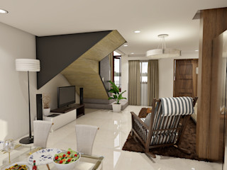 Brand new 2 storey house - Living room and Dining space homify Modern living room