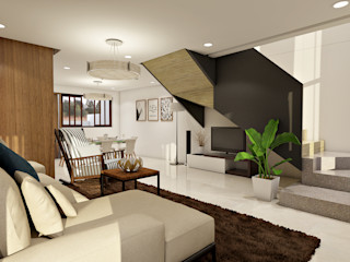 Brand new 2 storey house - Living room and stairs to upper floor homify Modern living room