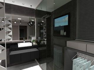 Banheiro contemporâneo Cláudia Legonde Banheiros modernos Vidro Cinza
