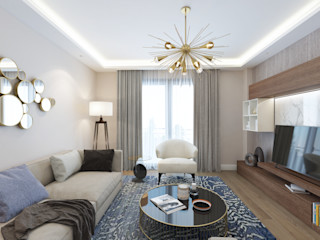 homify Modern Living Room Wood Blue