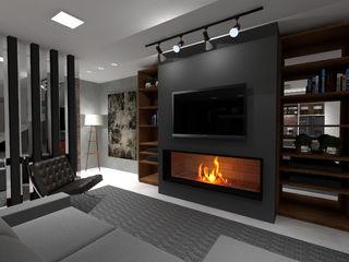 Projeto de interiores de área social Cláudia Legonde Salas de estar modernas Cinza