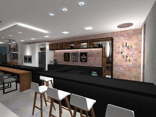 Projeto de interiores de área social Cláudia Legonde Adegas modernas Tijolo Preto
