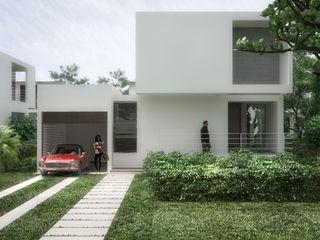 5 Casas en Miami RRA Arquitectura Jardines en la fachada Piedra Blanco