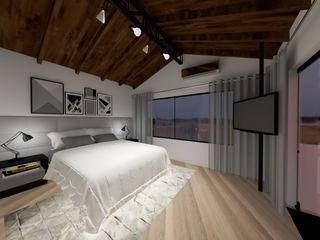 Suíte e closet Cláudia Legonde Quartos modernos Madeira Branco