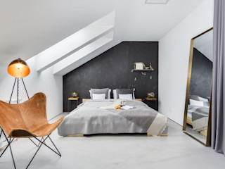 Penthouse 197 w Gdańsku studiolighthouse.pl - fotografia wnętrz Industrialna sypialnia