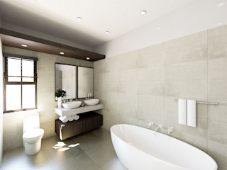 A4AC Architects Kamar Mandi Modern Ubin Multicolored
