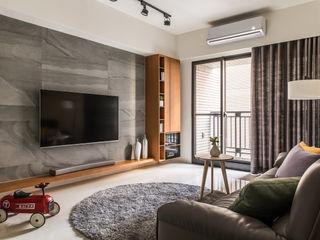 靜墨 詩賦室內設計 现代客厅設計點子、靈感 & 圖片