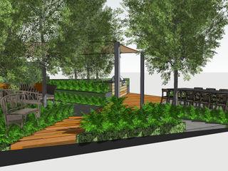 Trade Stand Concept for Chelsea Flower Show 2018 Aralia Jardins de fachadas de casas Madeira Laranja